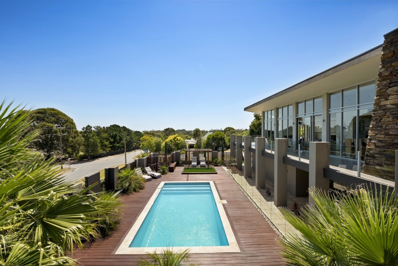 pool in front of house