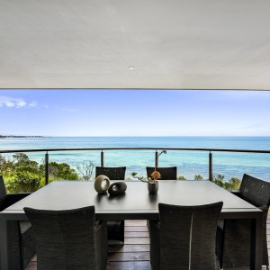 balcony with view of ocean