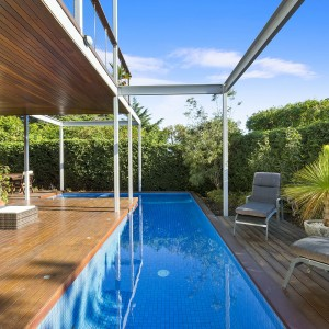 back decking and pool