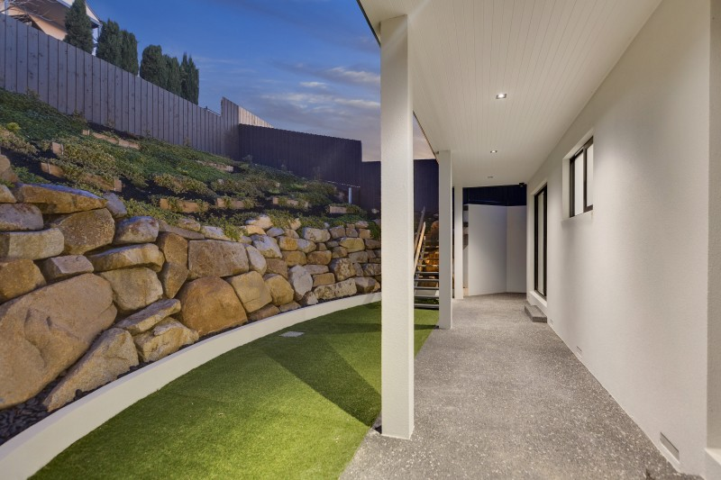 backyard with stone terrace