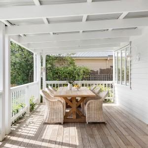 veranda with dining table